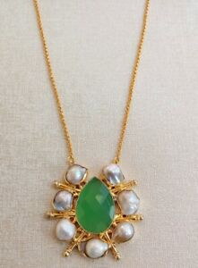 Handmade Gold Polished Green Onyx Pearl Stone Chain Necklace N2-001-3