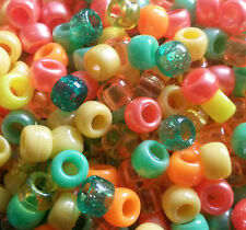 100 Citrus Summer Mix Orange Yellow Green Pearl Glitter Pony Beads Dummy Clip