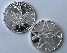 1/10th Troy Oz Pure .999 Solid Silver Jamaican Cannabis Bullion Coin w/free S&H