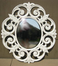 Vintage Shabby Cottage Chic White Mantle Mirror Ornate Scrolled French