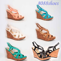 Women's 6 Colors Strappy Open Toe Platform Wedge Sandal Shoes Size 6 - 11 NEW