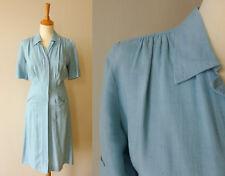 Tages Kleid eisblau Original 40er Jahre USA Gr 36 1940s Swing Dress true Vintage