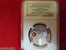 2008 Poland Silver 10zl NGC PF69 90th Anniversary of the Greater Poland Uprising