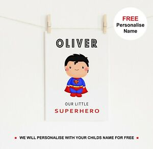 Personalised Superhero Print Cartoon Theme Poster Kids Superman Room Wall Art