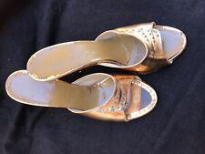 Vintage Gold Slip On Heels