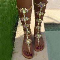 European Stylish Sandals Women's Summer Rhinestone Slingbacks Flats Strand Shoes
