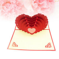 Handmade 3D Pop Up Love Heart Greeting Card for Lover Couple Valentines Day Gift