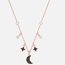 "Swarovski Crystal Jet Black Moon Stars Necklace Rose Gold Plated 5429737 13 3/8"""