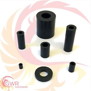 M2 2.5 M3 M4 M5 M6 M8 M10 M12 Black Plastic Nylon Spacers Standoff Thick Washers