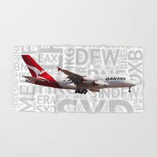 Qantas Airbus A380 with Airport Codes -  Bath Towel