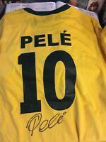 PELE BACK SIGNED BRAZIL NAME & NUMBER SHIRT FROM OUR OWN SIGNING WITH COA £175