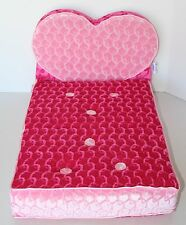"BUILD-A-BEAR Pink Velvet Heart FOLD OUT LOUNGE CHAIR 19.5 X 10"" DOG CAT PED BED"