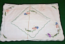 "4 Vintage Linen Placemats, Napkins, Floral Embroidery ""Jabara"" Label Never Used"