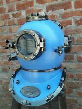 Antique Brass Blue Scuba Sca Marine Diving Divers Helmet Us Navy Mark V Decor