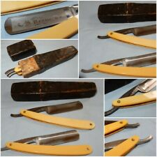 ANTIQUE W CASTLETON CJ REDHILL TWIN STEEL STRAIGHT CUT THROAT RAZOR + BOX