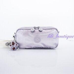 NWT New Kipling AC7373 Chap Pen Case Makeup Accessory Pouch Frost Lilac Metallic