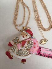 Betsey Johnson crystal Santa Claus W- PINK SANTA BAG necklace-BJ6527