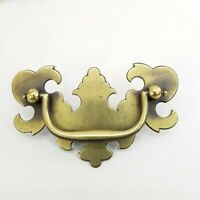 "Vintage Brass Chippendale Style Batwing Drawer Pull 3"" Center w/ Screws"