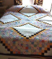 Multi-Color  Antique Handmade Patchwork Quilt Late 19th Century VGC