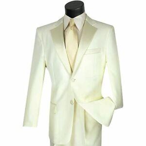 LUCCI Men's Ivory Classic Fit Formal Tuxedo Suit w/ Sateen Lapel & Trim NEW