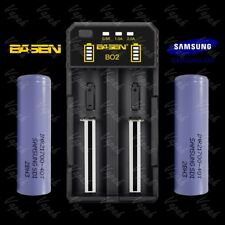 2x Samsung 40T 21700 4000mAh Flat Top Battery / Efest Case / Basen B02 Charger