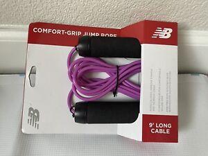 NIB New Balance Comfort Grip Jump Rope 9' Long Cable Purple Adjustable Rope