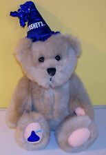 "HERSHEY 2001 Hershey's 10"" Teddy Bear Blue Party Hat Plush Stuffed Animal Bear"