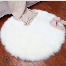 Round Pad Soft Carpet Hairy Plain Skin Fur Plain Fluffy Rugs Bedroom Carpet Mats