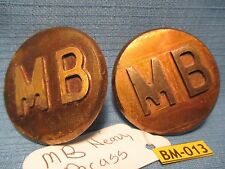 Heavy Antique SOLID BRASS MB Letter Bridle Rosettes from Bob Maclin Collection