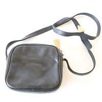 Vintage 90s Black Leather Sharif Americana Small Crossbody Bag Purse Square