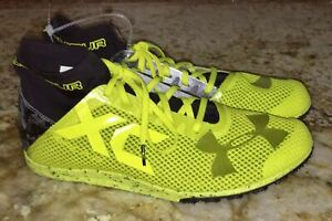 UNDER ARMOUR Charged Bandit XC Yellow Black Cross Country Spike 6 7 10 11 11.5
