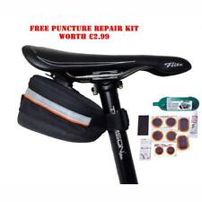 Small wedge style cycle saddle bag quick release reflective free puncture repair