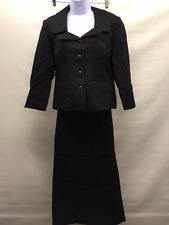 MetroStyle Women's Suit Blazer and Skirt Black Lined Size 12