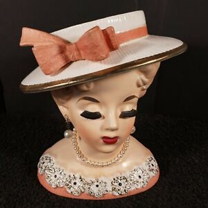 """Vintage Rubens Originals Lady Head Vase With Earrings and Necklace 6"""""""