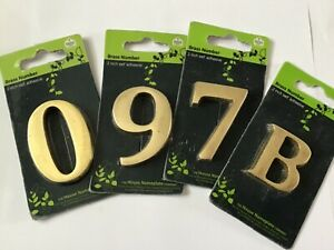 "2"" Self Adhesive Brass House Door Number / Letter.  New"