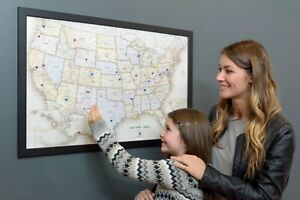 USA Map Framed Patented Magnetic Message Board Size 33X22 Perfect Home, School