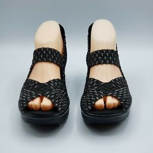 Skechers Memory Foam Black Woven Open Toe Mary Jane Comfort Wedge Sandals 7