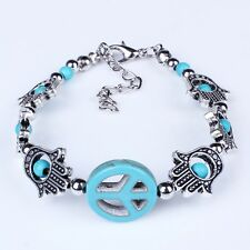 Peace sign turquoise blue palm shape charm bead link bracelet