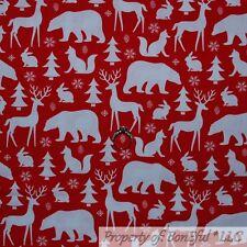 BonEful Fabric Cotton Quilt Red Fox White Tree Animal Deer Bear Snow Scene Scrap