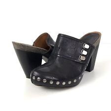 Nine West Clogs Mules Sz 6 Black Leather Studs Heels Vintage America Collection