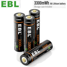 EBL USB Rechargeable Batteries 1.5v AA 3300mWh Li-ion Lithium w/ Micro USB Cable