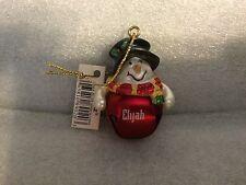 Ganz Jingle Bell Snowman Ornament Personalized ELIJAH Great Stocking Stuffer