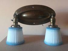 antq BRASS 2 bulb ART DECO victorian PAN light FIXTURE chandelier FLUSH MOUNT