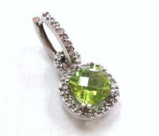 10K White Gold Checkerboard-cut Peridot & Diamonds 1 Dangling Earring or pendant