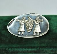Vintage Sterling silver brooch pin with an Aztec harvest design #P848