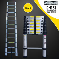 12.5FT Telescoping Extension Ladder Folding Portable Aluminium Step W/Carry Bag