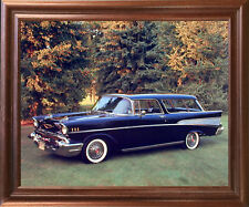 1957 Chevy Nomad Bel Air Vintage Classic Car Mahogany Framed Wall Art Picture