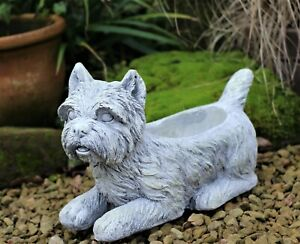 Garden Ornament Plant Pot Planter Westie Dog Animal Decoration Outdoor Indoor