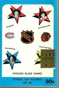 1968 (Apr.25) Hockey program Stanley Cup Playoffs w/ticket Montreal @ Chicago~VG