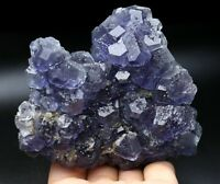 Natural rare translucent gem level blue fluorite crystal mineral specimen/China